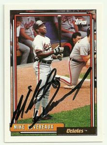Mike Devereaux Signed 1992 Topps Baseball Card - Baltimore Orioles