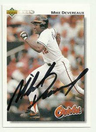 Mike Devereaux Signed 1992 Upper Deck Baseball Card - Baltimore Orioles