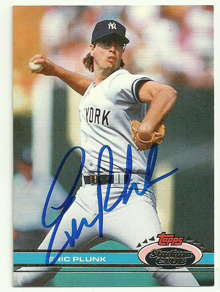 Eric Plunk Signed 1991 Topps Stadium Baseball Card - New York Yankees