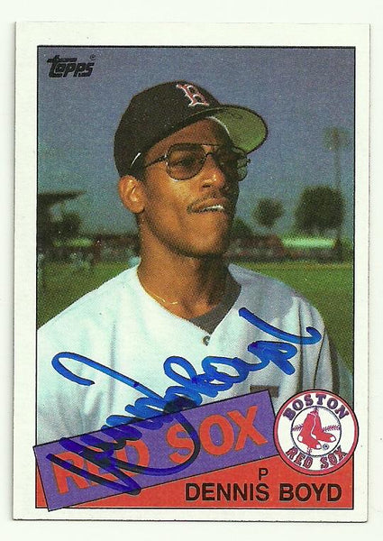 Dennis 'Oil Can' Boyd Signed 1985 Topps Baseball Card - Boston Red Sox