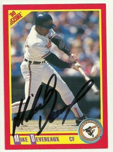 Mike Devereaux Signed 1990 Score Baseball Card - Baltimore Orioles