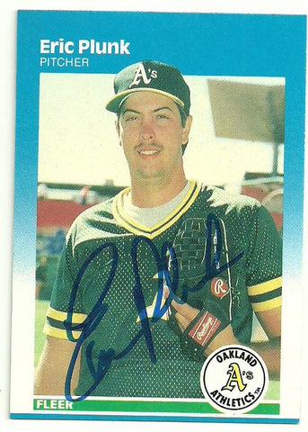 Eric Plunk Signed 1987 Fleer Baseball Card - Oakland A's