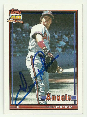 Luis Polonia Signed 1991 Topps Baseball Card - Anaheim Angels