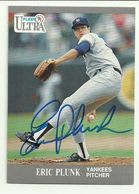 Eric Plunk Signed 1991 Fleer Ultra Baseball Card - New York Yankees - PastPros