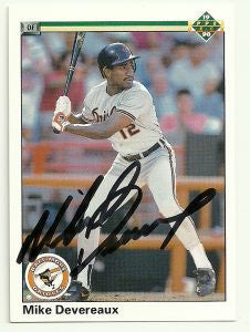 Mike Devereaux Signed 1990 Upper Deck Baseball Card - Baltimore Orioles