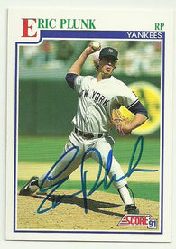 Eric Plunk Signed 1991 Score Baseball Card - New York Yankees - PastPros