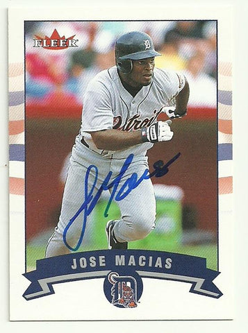 Jose Macias Signed 2002 Fleer Baseball Card - Detroit Tigers - PastPros