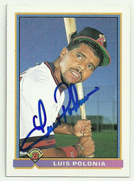 Luis Polonia Signed 1991 Bowman Baseball Card - Anaheim Angels