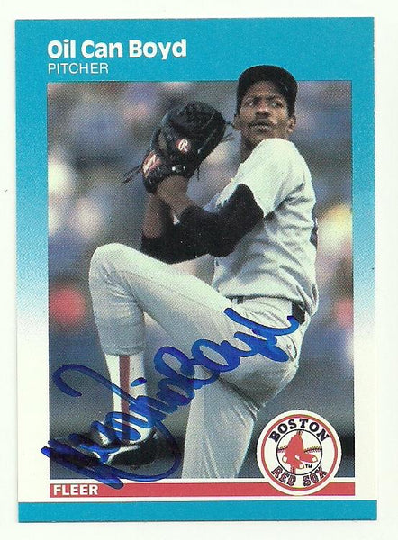 Dennis 'Oil Can' Boyd Signed 1987 Fleer Baseball Card - Boston Red Sox