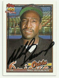 Mike Devereaux Signed 1991 Topps Baseball Card - Baltimore Orioles