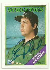 Eric Plunk Signed 1988 Topps Baseball Card - Oakland A's
