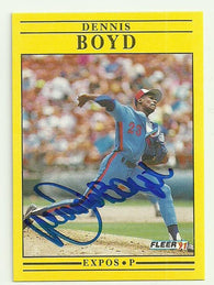 Dennis 'Oil Can' Boyd Signed 1991 Fleer Baseball Card - Montreal Expos