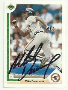 Mike Devereaux Signed 1991 Upper Deck Baseball Card - Baltimore Orioles