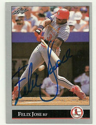 Felix Jose Signed 1992 Leaf Baseball Card - St Louis Cardinals