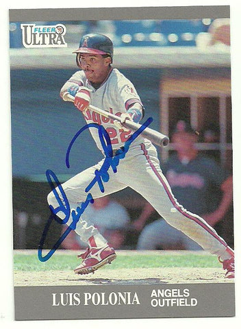 Luis Polonia Signed 1991 Fleer Ultra Baseball Card - Anaheim Angels - PastPros