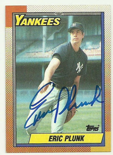 Eric Plunk Signed 1990 Topps Baseball Card - New York Yankees