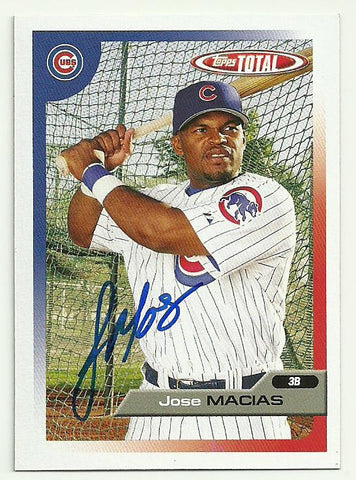 Jose Macias Signed 2005 Topps Total Baseball Card - Chicago Cubs