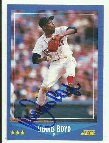 Dennis 'Oil Can' Boyd Signed 1988 Score Baseball Card - Boston Red Sox