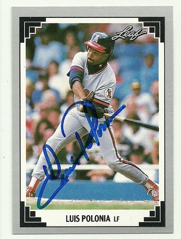 Luis Polonia Signed 1991 Leaf Baseball Card - Anaheim Angels - PastPros