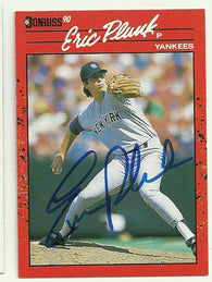 Eric Plunk Signed 1990 Donruss Baseball Card - New York Yankees