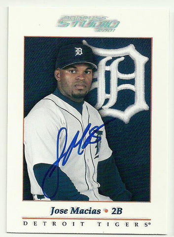 Jose Macias Signed 2001 Donruss Studio Baseball Card - Detroit Tigers