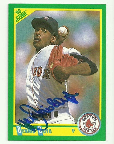 Dennis 'Oil Can' Boyd Signed 1990 Score Baseball Card - Boston Red Sox