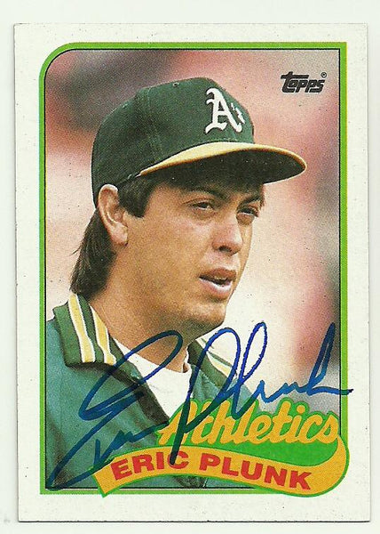 Eric Plunk Signed 1989 Topps Baseball Card - Oakland A's