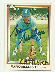 Mario Mendoza Signed 1981 Donruss Baseball Card - Seattle Mariners