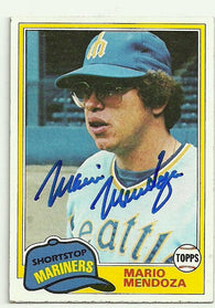 Mario Mendoza Signed 1981 Topps Baseball Card - Seattle Mariners
