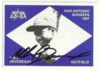 Mike Devereaux Signed 1987 Team Issued Baseball Card - San Antonio Dodgers