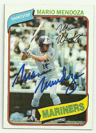 Mario Mendoza Signed 1980 Topps Baseball Card - Seattle Mariners