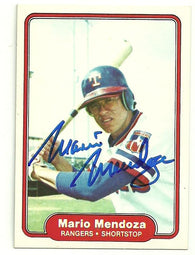 Mario Mendoza Signed 1982 Fleer Baseball Card - Texas Rangers
