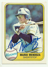 Mario Mendoza Signed 1981 Fleer Baseball Card - Seattle Mariners
