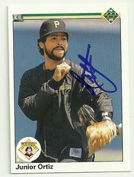 Junior Ortiz Signed 1990 Upper Deck Baseball Card - Pittsburgh Pirates