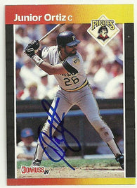 Junior Ortiz Signed 1989 Donruss Baseball Card - Pittsburgh Pirates