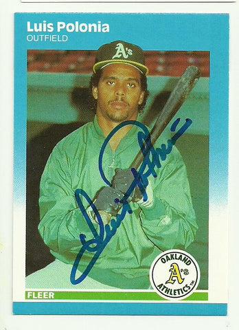 Luis Polonia Signed 1987 Fleer Baseball Card - Oakland A's - PastPros