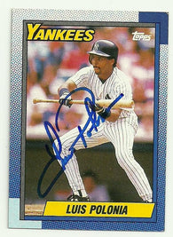 Luis Polonia Signed 1990 Topps Baseball Card - New York Yankees