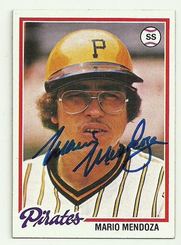 Mario Mendoza Signed 1978 Topps Baseball Card - Pittsburgh Pirates