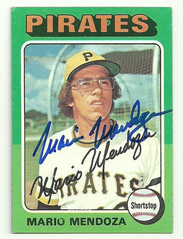 Mario Mendoza Signed 1975 Topps Baseball Card - Pittsburgh Pirates