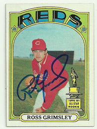 Ross Grimsley Signed 1972 Topps Baseball Card - Cincinnati Reds