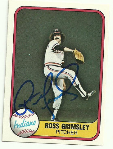 Ross Grimsley Signed 1981 Fleer Baseball Card - Cleveland Indians