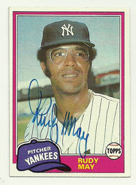 Rudy May Signed 1981 Topps Baseball Card - New York Yankees