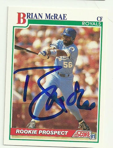 Brian Mcrae Signed 1991 Score Baseball Card Kansas City Royals