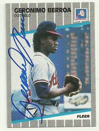 Geronimo Berroa Signed 1991 Fleer Baseball Card - Atlanta Braves