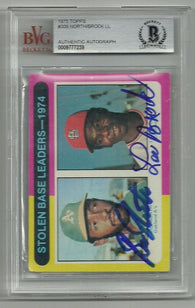 Bill North & Lou Brock Signed 1975 Topps Baseball Card - Stolen Base Leaders - BVG