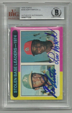 Bill North & Lou Brock Signed 1975 Topps Baseball Card - Stolen Base Leaders