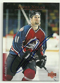 Owen Nolan Signed 1995-96 Upper Deck Hockey Card - Colorado Avalanche - PastPros