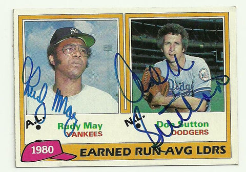 Rudy May & Don Sutton Signed 1981 Topps Baseball Card - ERA Leaders - PastPros