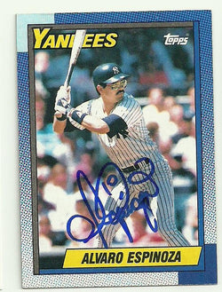 Alvaro Espinoza Signed 1990 Topps Baseball Card - New York Yankees
