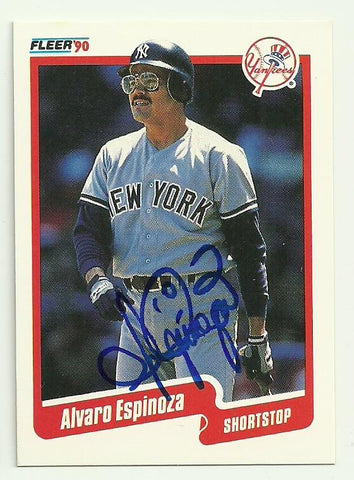 Alvaro Espinoza Signed 1990 Fleer Baseball Card - New York Yankees